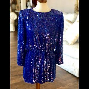 Vintage gorgeous blue sequin mini dress